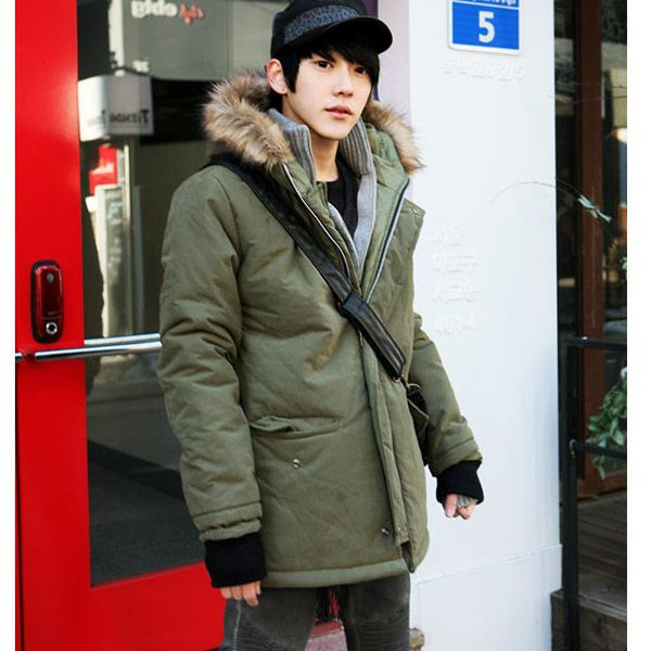 Mens Army Style Trench Winter Snow Coats Male Outerwear