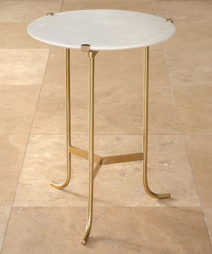 Plie Table   Polished Brass / White Honed Marble