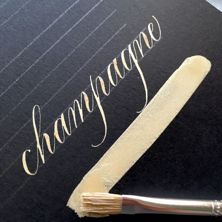 Champagne gold ink bien fait calligraphy