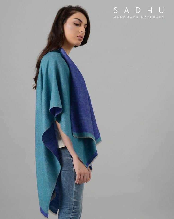 Hand-woven ultra-soft cashmere reversible poncho with embroidered edge made by artisans in Kashmir #pashmina#shawl#wrap#scarves#poncho#cashmere#shawl#kashmir#handmade#craft#sustainableluxury#handloom