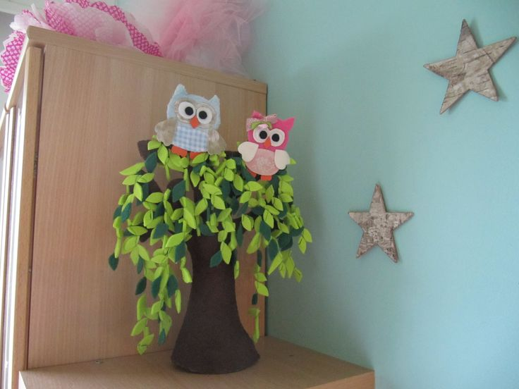 Felt tree and owls, birch stars