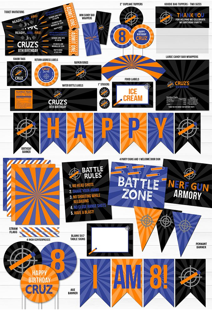 Printable Foam Dart Birthday Complete Party Package | Nerf