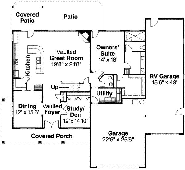 I really like this first floor layout.  Clean use of the space.  I *love* the idea of an RV garage.  I would use it to store my boat, snow mobiles, ATV and any other toys I can find.