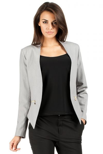 Asymmetric ladies blazer in gray
