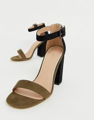 d16806c5133 New Look two tone block heeled sandal in green