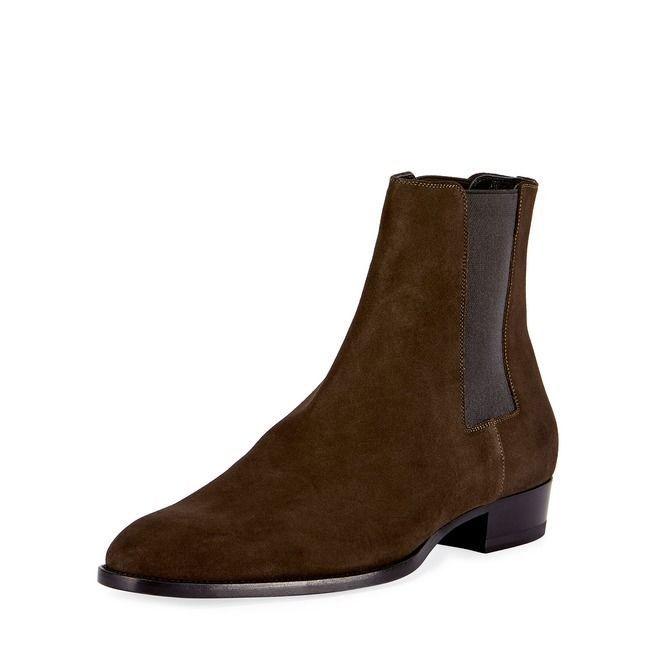 Handmade Men Brown Chelsea Boots, Men Brown Suede Ankle Boots, Mens Boots #Handmade #Chelsea