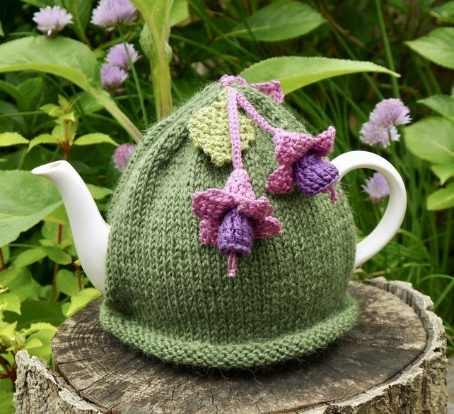 Green Hand Knitted Tea Cosy With Fuchsia Flowers Tea Cosy Knitting Pattern Tea Cosy Knitted Tea Cosies