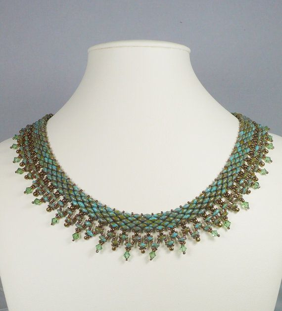 Woven Twin Bead Necklace Green and Turquoise