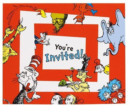 Free printable Dr. Seuss birthday party invites. It's just the cover, but we can make our own invites from these.