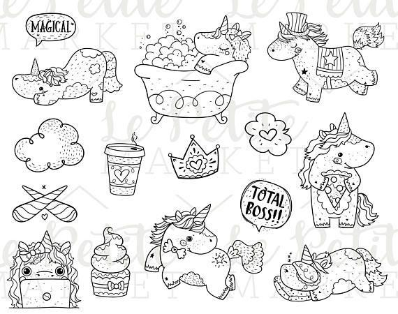 Unicorn Digital Stamp Bundle Kawaii Unicorn Clipart Bundle