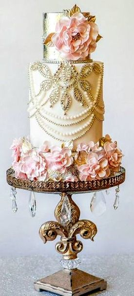 Pink flowers, Pearl details and gold accents, amazing wedding cake! moncheribridals.com #weddingcake