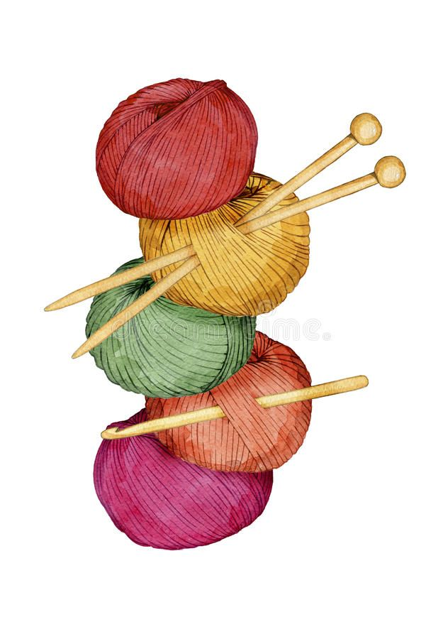 Hand Drawn Watercolor Tower Of Colorful Balls Of Yarn With Knitting Needles And Sponsored Tower Colorful B Handmade Logo Sewing Art Sewing Logo Design