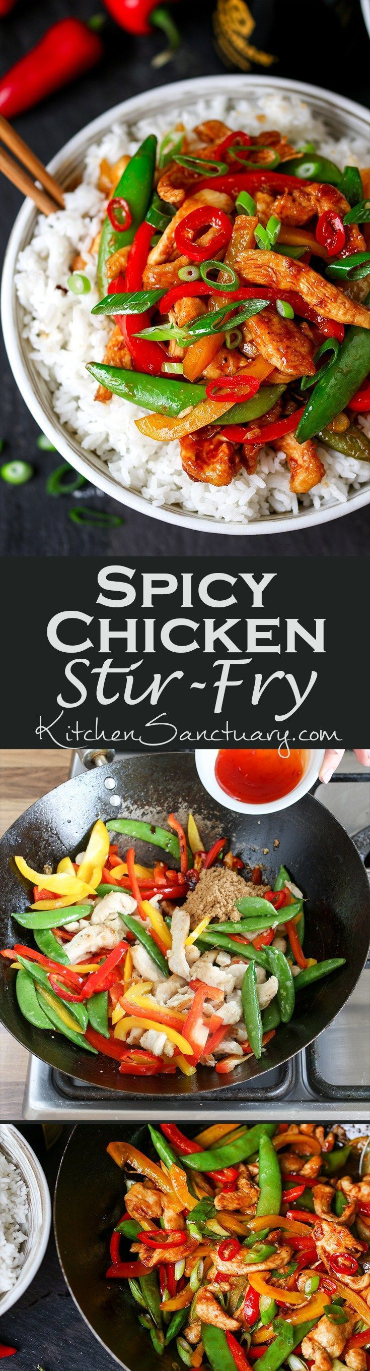 Easy Chicken and veggie stir fry - a quick mid-week meal with a kick of chilli heat that you can get on the table in less than 20 minutes! (Spicy Chicken Chili)