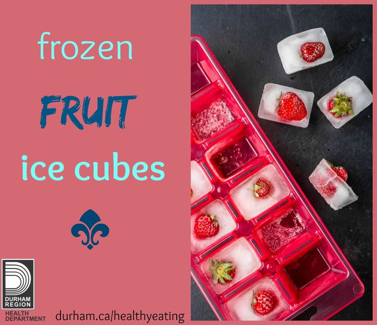 Are you trying to keep your water cold? Freeze fruit into ice cubes and add it to you refillable water bottle. As the ice cubes melt, the fruit will flavour your water!