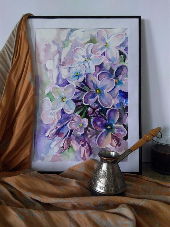 Digital art print Watercolor flowers Lilac by PaintingByAHeart