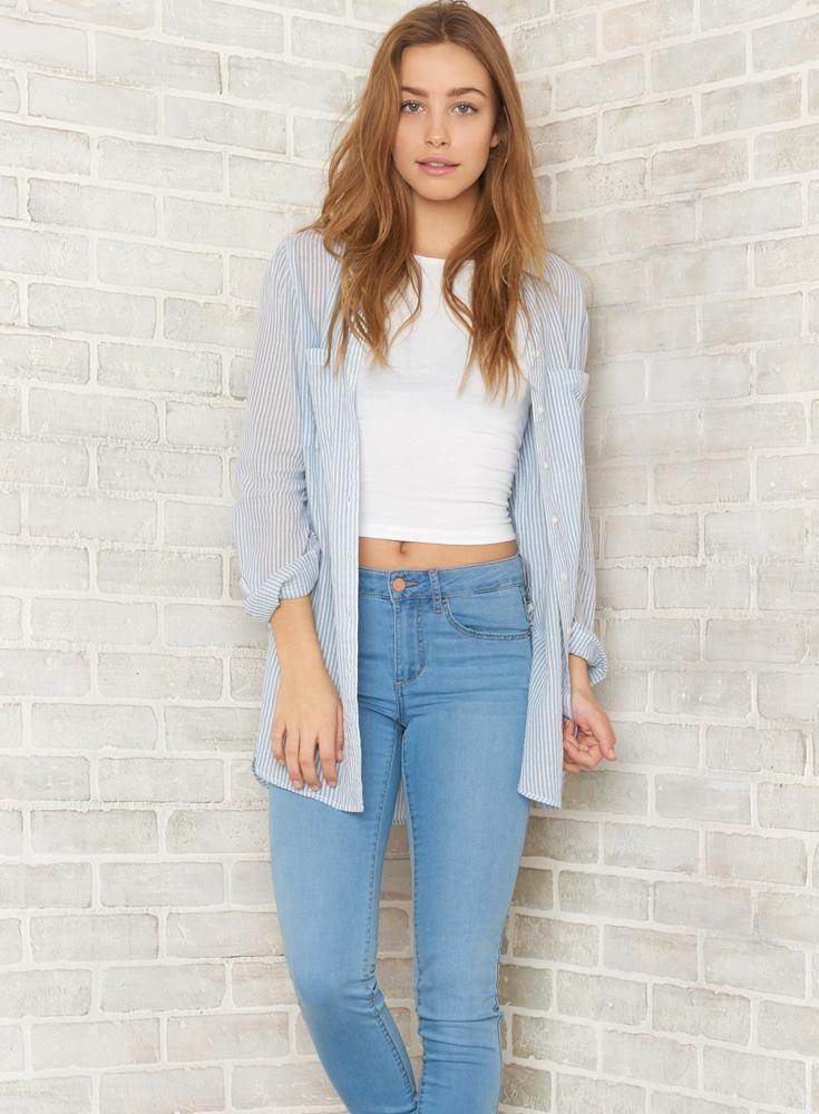 Blue Tales: Stripe Tunic Shirt, Sport Neck Midi Cami, Harbor Blue Super Soft High Waist Jegging. #iweargarage