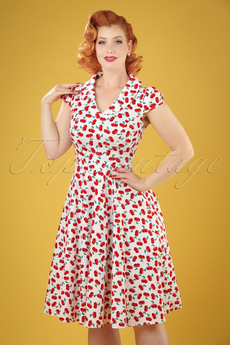 Pin Up Dresses | Pin Up Clothing 50s Blossom Cherry Swing Dress in White £47.91 AT vintagedancer.com
