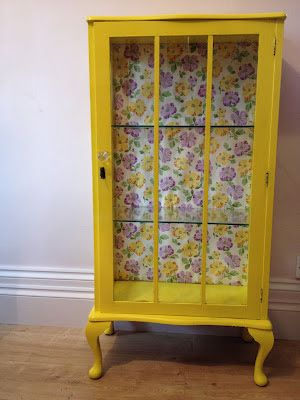 Yellow Painted Cabinet with Pansies