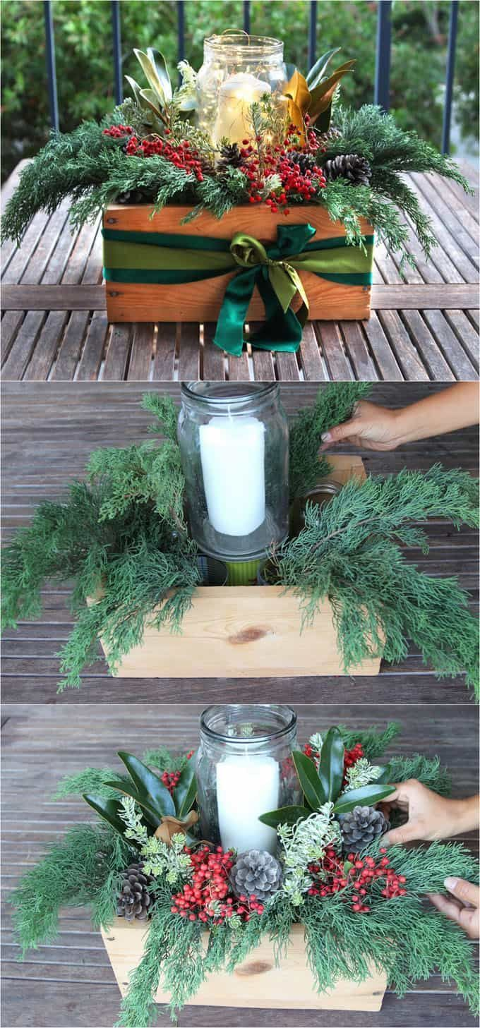 DIY Christmas Table Decoration Centerpiece for $ 1. Simple tutorial & video on the subject