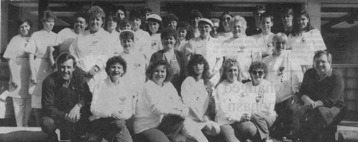 1990 Chickenburger Staff Photo with former owners Tom & Paulette Innes