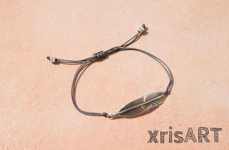 Handmade bracelet feather boho style