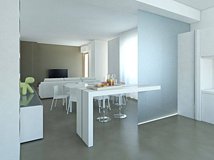 #ristrutturazione di un #appartamento, #cucina con #bancone e #vetro #santagatalibattiati #soaassociati - SOA_Spazio Oltre l'Architettura
