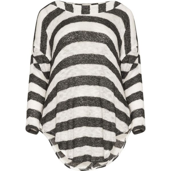 Kekoo Black / White Plus Size Gathering detail striped jumper (€54) ❤ liked on Polyvore featuring tops, sweaters, black, plus size, long sleeve sweater, loose sweater, plus size jumpers, collared sweater and white plus size jumper