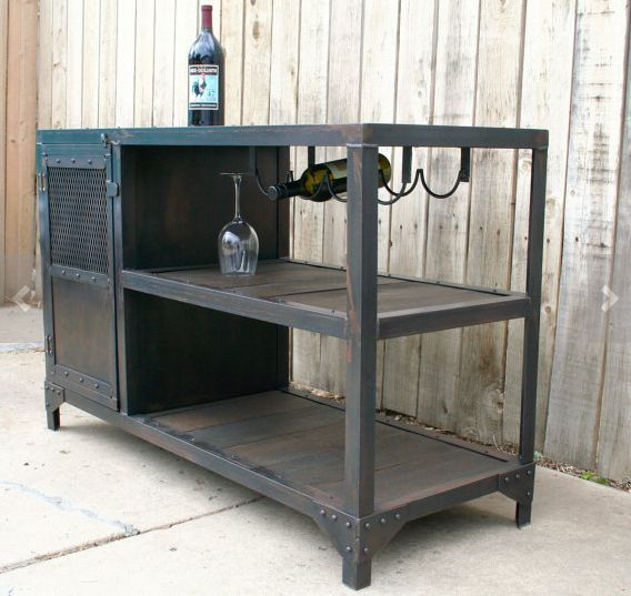 If the reclaimed wood from a 75-year-old barn isn't enough of a sell, then the bonus wine storage should be! | 19 Industrial Bar Carts That Will Up Your Drinking Game