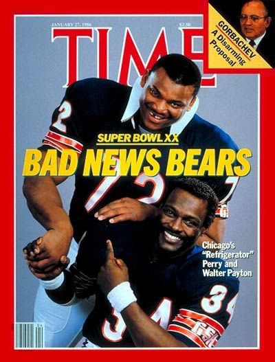 "January 27, 1986 Time Magazine cover ""Bad News Bears"" Refrigerator Perry and Walter Payton"