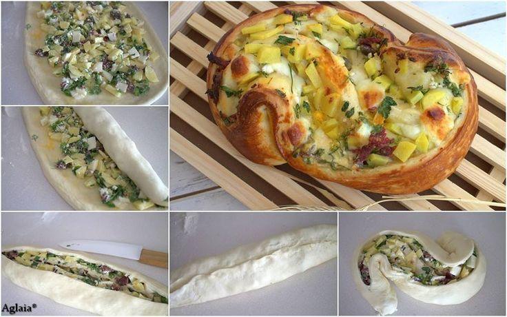 https://www.facebook.com/RecensioniConsigliAglaia/photos/a.349154978556318.1073741869.306949746110175/384766351661847/?type=1 Tissage particulier mais facile à faire et... Etaler la pâte à tarte (Danube, pizza, pâte feuilletée, brioche pan) et légumes déjà cuits et couvrir avec de petits morceaux de fromage. Créé un rouleau, gravure et formant un « S » à...