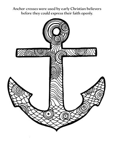 Anchor Cross Coloring Page