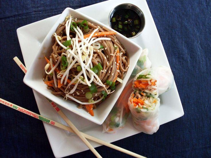 soba noodles w peanut sauce and veggie spring rolls