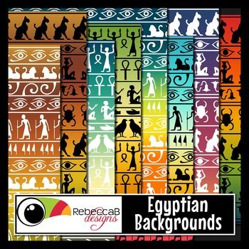 Egyptian Backgrounds contains 60 letter size patterned backgrounds with a contemporary take on traditional Egyptian patterns and hieroglyphics. There are 3 different patterns in black or white over 10 different colored backgrounds.  Import into PowerPoint and place frames, text and clip art over the top to create fun product covers, worksheets, activities, posters and other teaching resources.