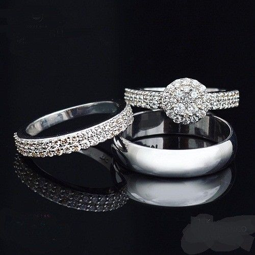 14k White Gold Over Mens Women Diamond Bridal Engagement Trio