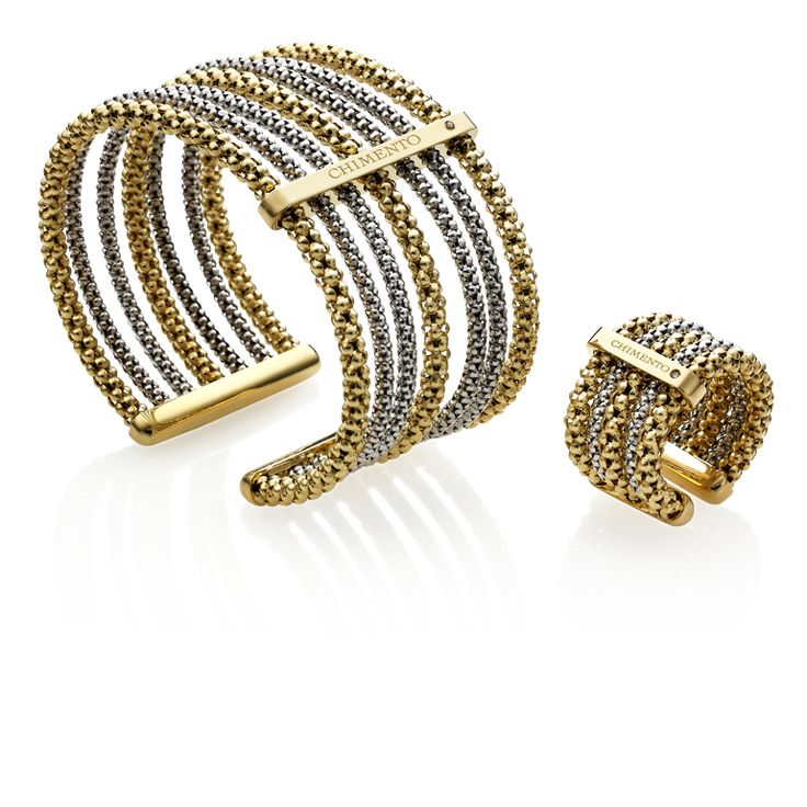 CHIMENTO Stretch Multiple yellow and white bracelet and ring.