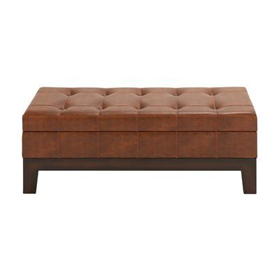 Woodland Imports 35041 Spacious Leather Storage Entryway Bench