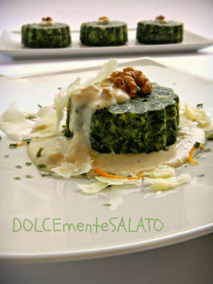 DOLCEmente SALATO: Budini alle erbette con salsa di noci