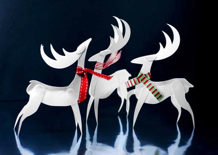 Free cutting files  PDF templates  Paper Reindeer ornament craft