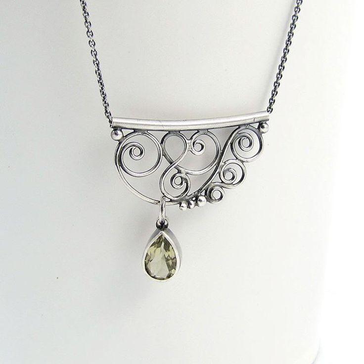 Delicate swirls and drop of citrine. #swirls #silverjewelry #necklace #lacy