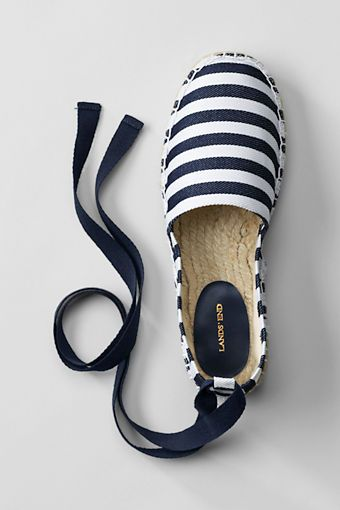 Lands' End Whitney Low Platform Ankle Tie Espadrilles | Cotton Twill Ankle Tie Is Removable
