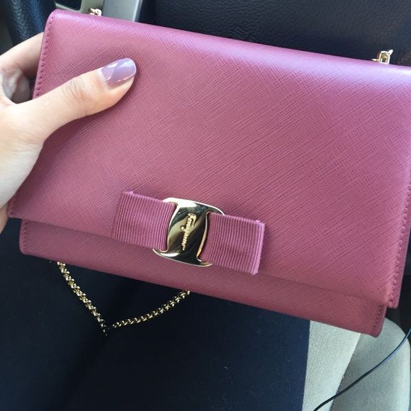 """Salvatore Ferragamo Miss Vara mini saffiano bag PLEASE DO NOT PURCHASE LISTING. only selling on merc for price listed or best offer. Free shippingBeautiful brand new crossbody. The color is anemone pink. 22"""" inch drop gold chain. 7.5"""" W x 4.25"""" H X 1"""" D. Used only once but I don't wear bright colors much. Guaranteed authentic. Comes with the original tag but no box or receipt. Bought in stores for $695 plus tax. Salvatore Ferragamo Bags Crossbody Bags"""