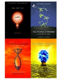 The City of Ember Series by Jeanne DuPrau. Age: 13+. Score: The series itself gets a 100, but individually, I'd say that Ember and People of Sparks both get a 90, Prophet of Yonwood gets a 60, and Diamond of Darkhold gets a 100.