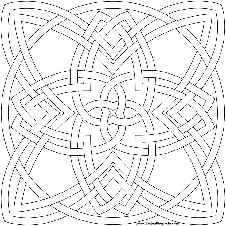 4 stranded 4 cornered knot to color by shala kerrigan on for Celtic knot mandala coloring page