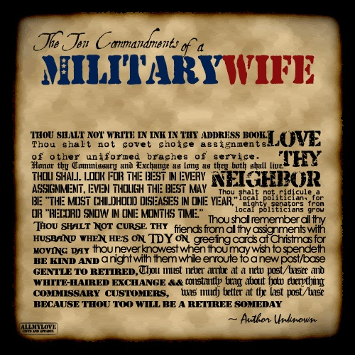 10 Commandments of a Military Wife