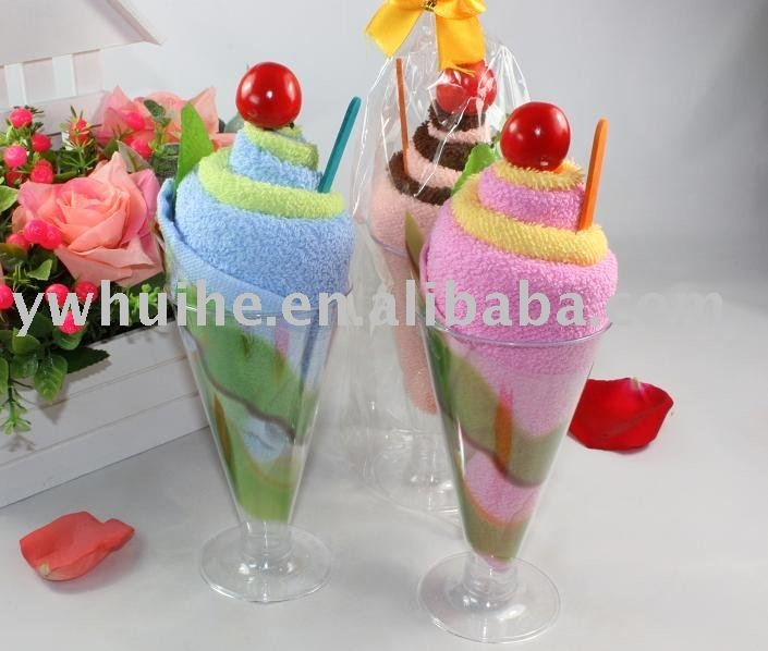 Ice cream towel cake. Link doesn't take there. Bottle of shampoo and emery board in it?