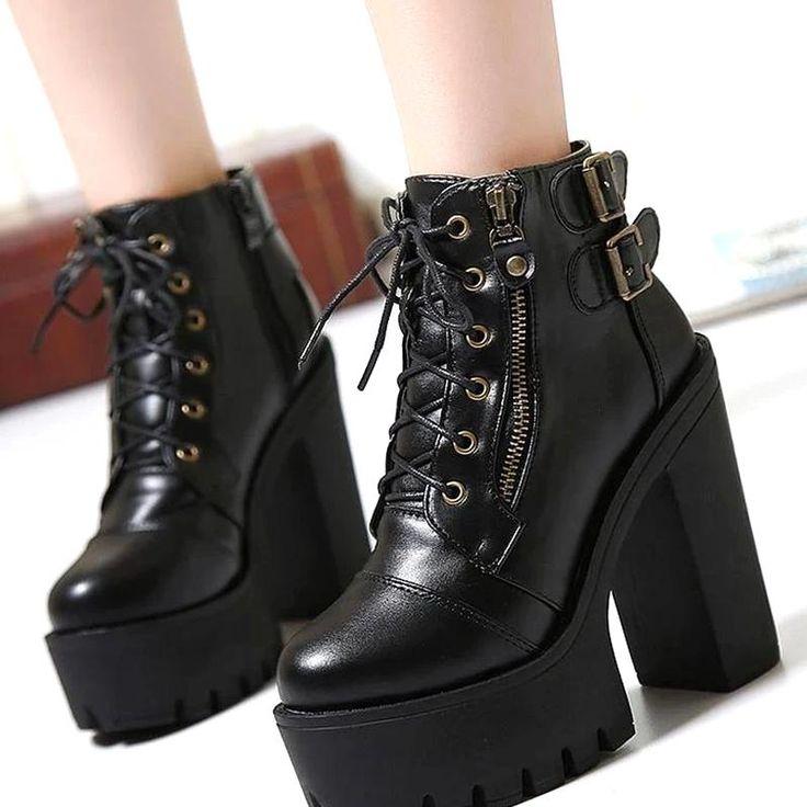 Alternative Fashion Boots Women Leather Rock Goth Metal