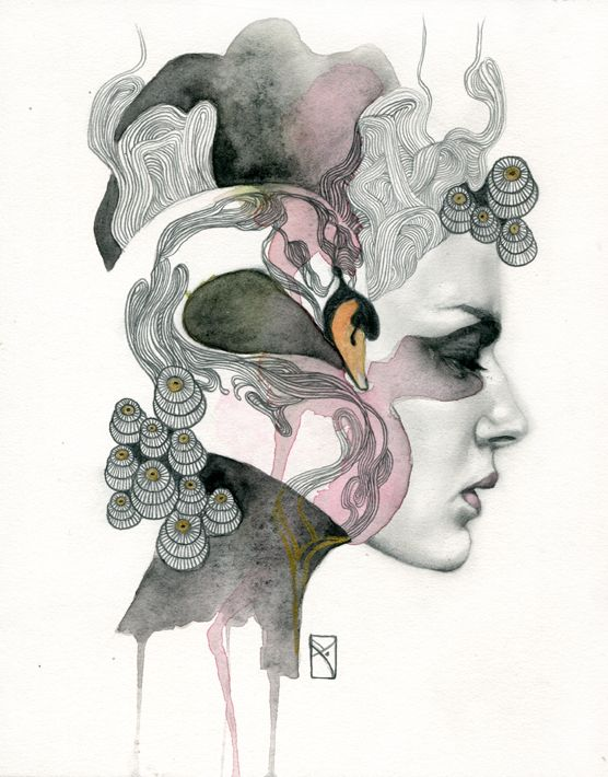 """Animal Spirits: Swan"" Media: Pencil and watercolor on illustration board Size: 8"" x 10"" inches Year: 2013 Love Union Divination Grace Elegance Purity Beauty Ability to see into the future Dreams ........ This original illustration by artist Patricia Ariel is part of the series of small artworks nam...:"
