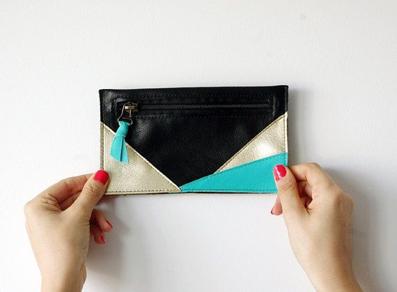 leather pouch #geometric #lindiscrete #leather #pouch #black #mint #gold