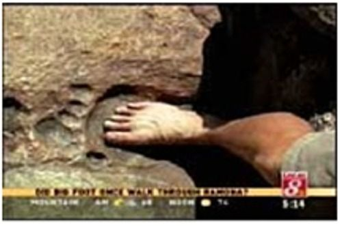 Giant fossilized human footprint found embedded in solid granite.