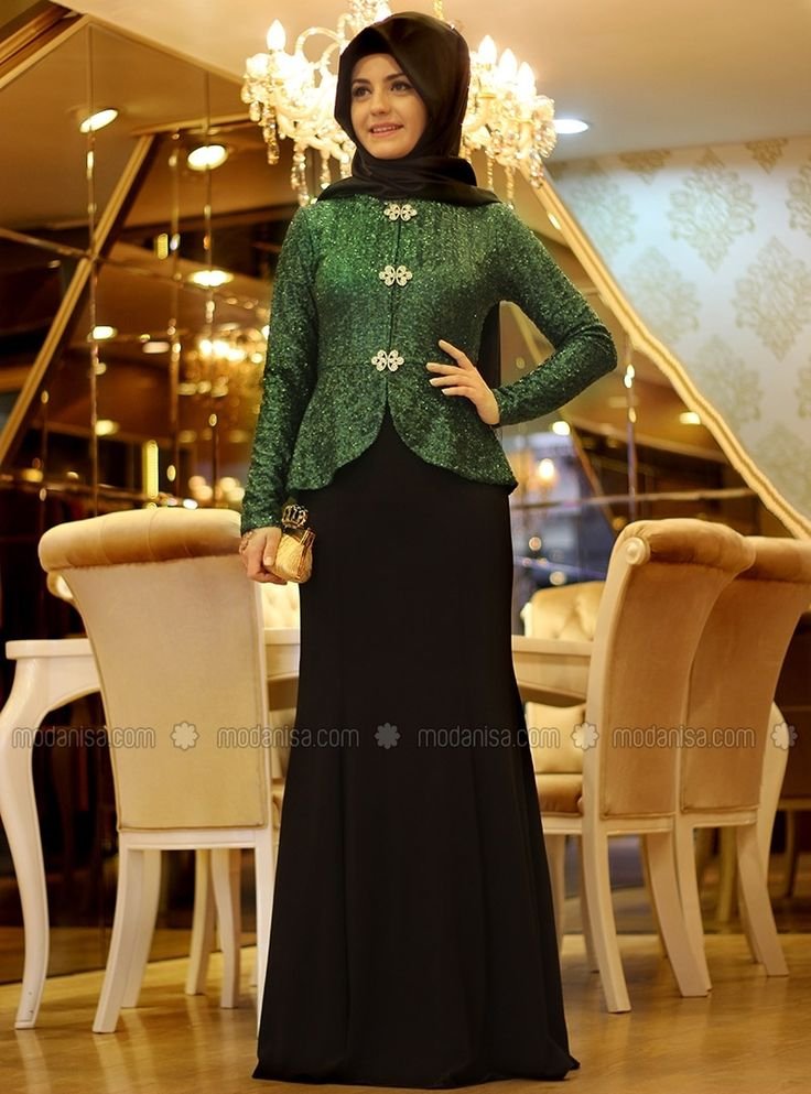 Agrafli Sarayli Abiye Zumrut Pinar Sems Islami Moda Elbise Musluman Elbisesi